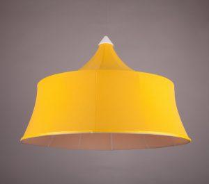 абажур модный подвесной из желтой ткани