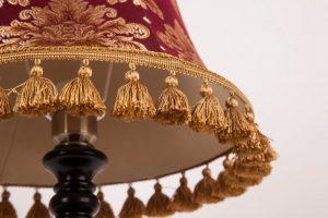 красный золото абажур из ткани