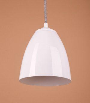светильник металлический белый глянец подвесной для современного интерьера