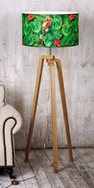 купить Яркий торшер напольный с основанием из дерева